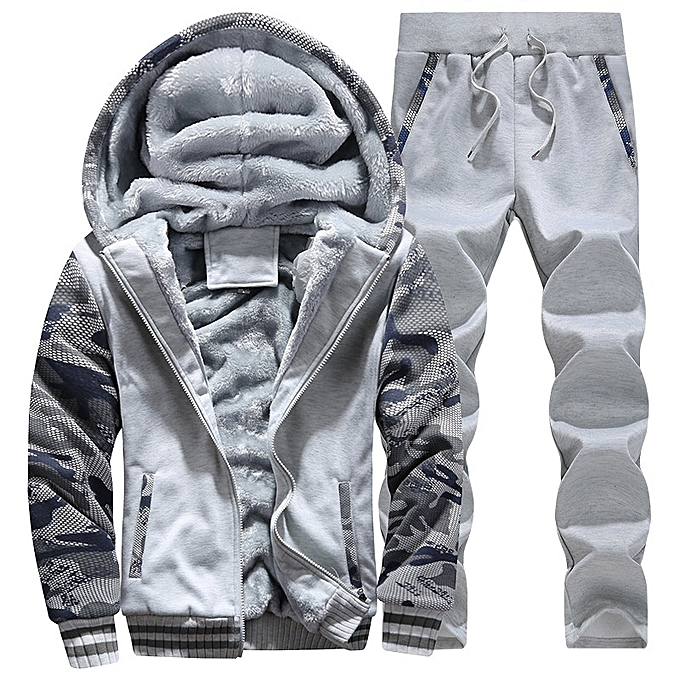 Light Grey 2018 New Autumn Winter Men s Hooded Thick Cashmere Sweater Set  Sports Leisure Men Warm c53aefd40
