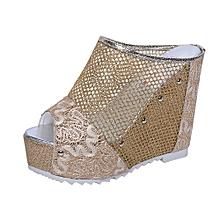 197c138da95b5e Yuakloap Store Women Flip Flops Hollow Wedge High Heel Shoes Ladies Summer  Sandals GD 36