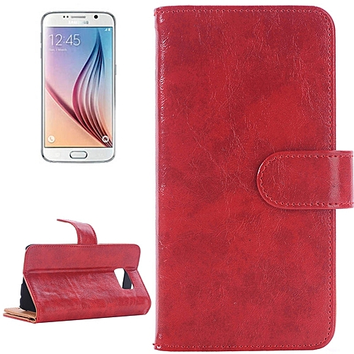 Generic For Samsung Galaxy S6 / G920 Oil Skin Texture Horizontal Flip Magnetic Buckle Leather Case With 3 Page Card Slots & Wallet & Holder (Red)