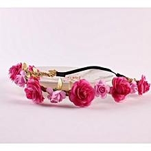 Used, Fohting Wedding Bridesmaid  Floral Flower Festival Forehead Headband Hair Garland HOT - Hot Pink for sale  Nigeria