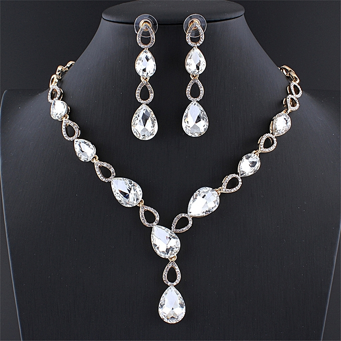 f26e81da6 Fashion Wedding Dress Jewelry Set Glass White Charm Crystal Necklace  Earrings Set For Women Gold Color Gift