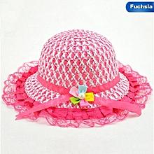 645c6052 Baby Lace Flower Node Brim Summer Beach Sun Straw Hat Cap