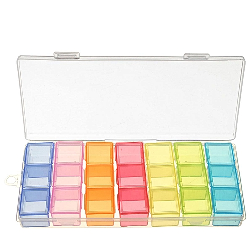 21 Slot 7 Day Colorful Pill Box Medicine Organizer Storage Container Case 7 Days