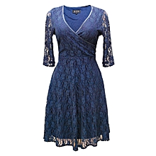 ed3c36bd0efe V-Neck Short Sleeve Lace Dress - Blue