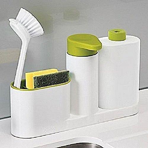 Sink Tidy Set, 3-Piece - White/Green