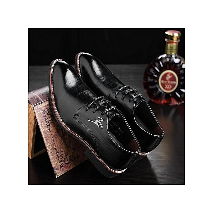 Men Business Business Cool Dress Shoes Men's Gentle Wedding Office Leather  Shoes Luxury Brand Formal Wearing-black