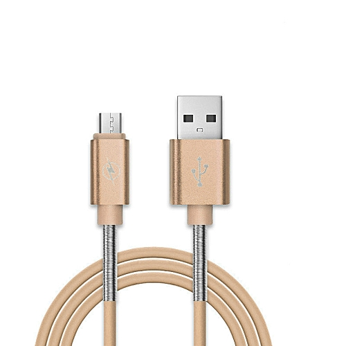 Universal Micro USB Charger Cable Charging Cord For Android Spring Anti-break Gold