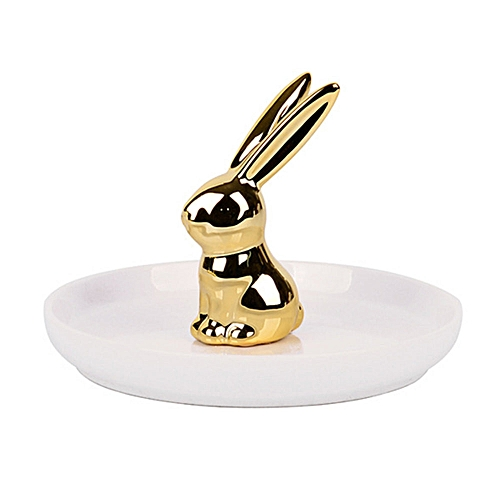 Rabbit Shaped Jewelry Serving Plate Ceramics Tray Storage Decoration Ornaments