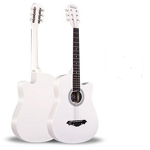 Acoustic Box Guitar With Bag And Strap - White