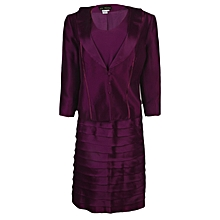 Ladies Dress And Jacket Set - Purple