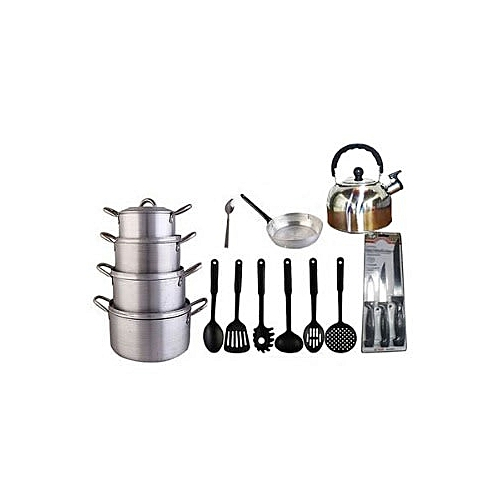 Economy Kitchen Bundle- 4 Set Pots, 1 Kettle, 1 Frying Pan, 1 Set Non-stick Frying Spoon, 1 Small Knife Set And 1 Set Of Table Spoon