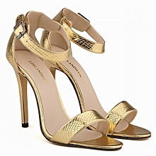 Open Toe Stiletto Heels With Ankle Strap - Gold