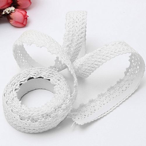 1.8CM X 2M Fabric Washi Tape Lace 18mm Wide Roll Decorative Sticky Adhesive Craft Gift UK