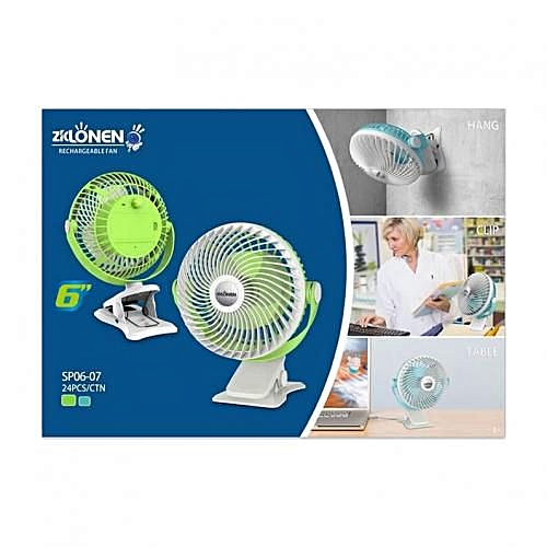 6inch USB Rechargeable Fan With Clip Base - Powered By 2pcs 1500mAh Li-ion Battery