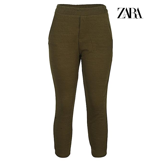 1cfac09c Zara Linen Trousers With Drawstring - Khaki Green | Jumia NG