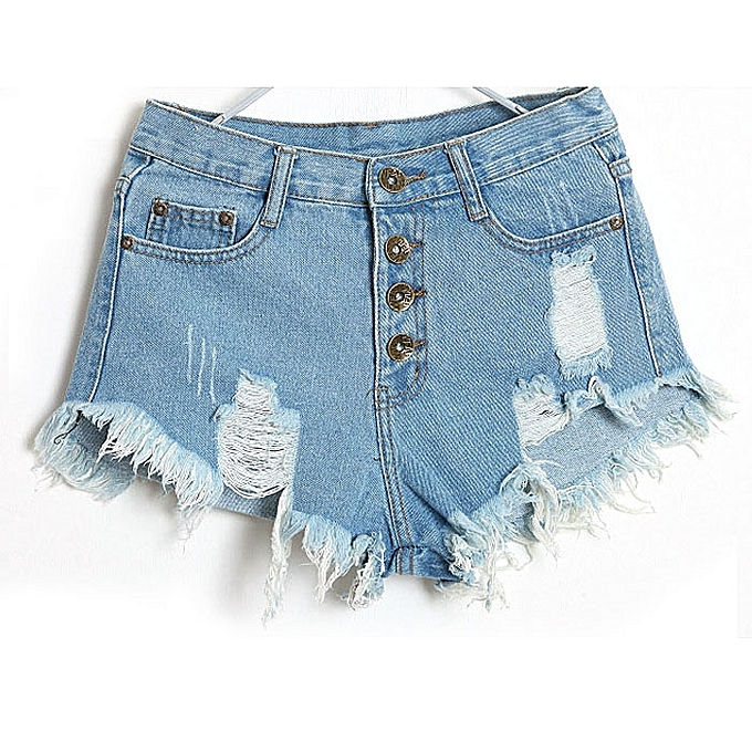 c0f8d68b5656 1PC Women Vintage High Waist Jeans Hole Short Jeans Denim Shorts Light Blue