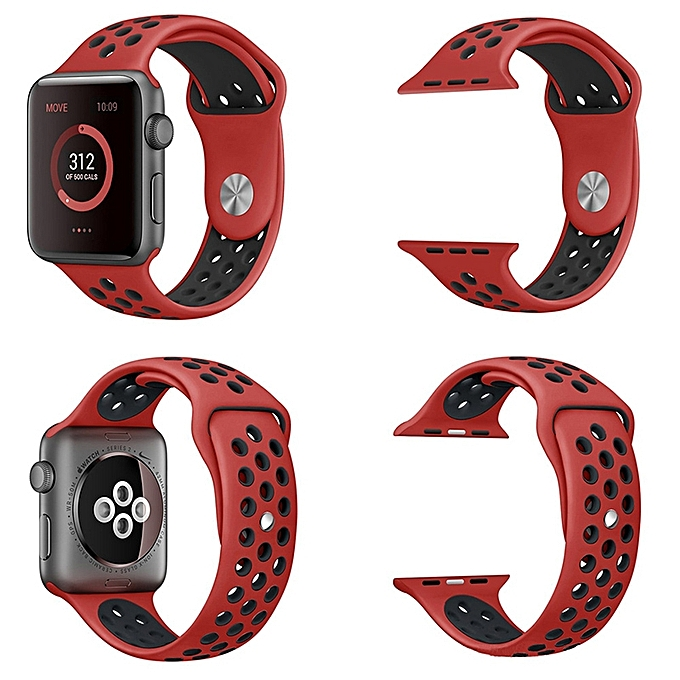 Two-Color Silicone Watch Band Strap 42mm For Apple Watch-Red With Black