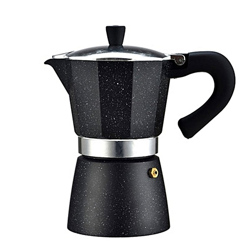 Portable Aluminum Stovetop Electrical Coffee Moka Pot Maker For Home Office Black