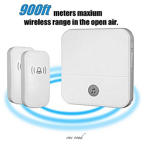 300M Waterproof Led Wireless Doorbell Uk Plug 52 Songs Chime Door Bell