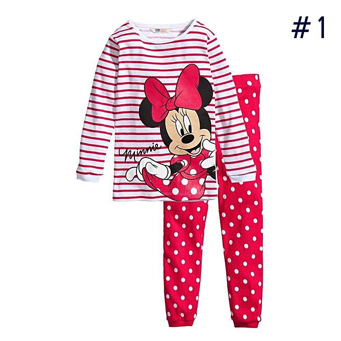 373c90a52 Fashion Pajamas Sets Kids Girls Cartoon Sleepwear Long Sleeve Tops + ...