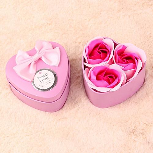 Girls Lovely Novelty Rose Soap Romance Flower Bear Heart-shaped Box Forever Pink