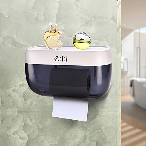 Wall-mounted Suction Tissue Box Dispenser Napkin Holder Box Paper Tray Roll Drain Shelf