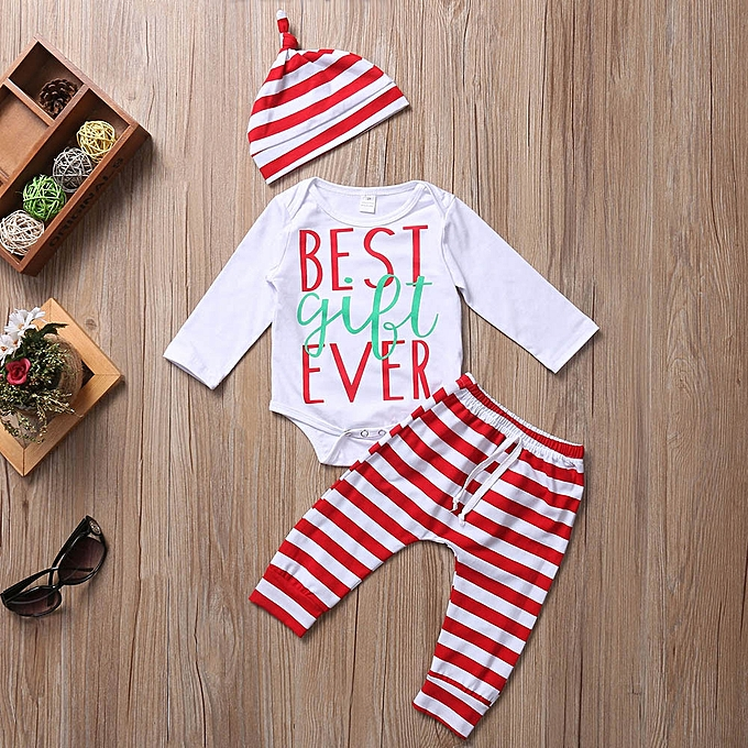 9b8fe5a3ab1 ... Baby Outfit Newborn Infant Baby Boy Girl Romper Tops+Striped Pants+Hat  Christmas Outfits ...