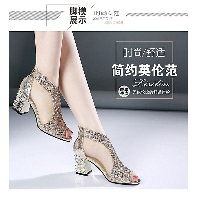 9d6368dded8f Fashion Rough Heel Female Sandals Fish Mouth Shoe Pure Fashion- Intl ...