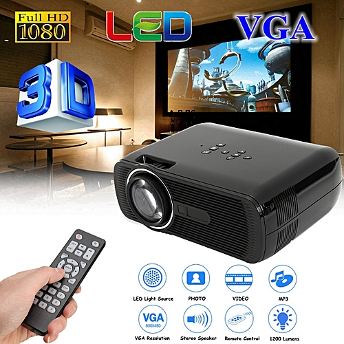 HD 1080P 4K Projector 1200 Lumens Home Theater Cinema LED HDMI AV TV VGA Black
