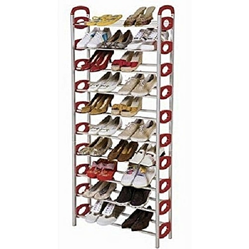 Strong Metal Shoe Rack - Red - 10-Layer