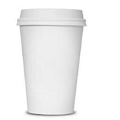 100- Pieces 12oz White Coffee Paper Cups With White Lids
