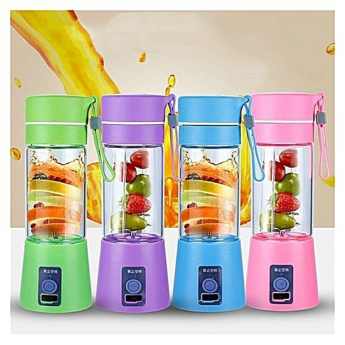Car & Home 2 In 1 USB Rechargeable PowerBank For Devices + Portable Fruit Smoothie Maker Blender -- Multicolour