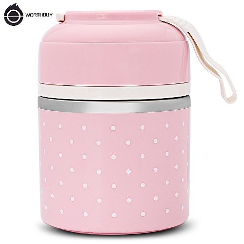 Bento Thermal Lunch Box Leak-proof Stainless Steel Food Container 3 Layer - Pink