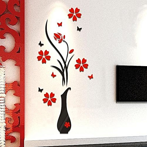 DIY Vase Flower Tree Crystal Arcylic 3D Wall Stickers Decal Home Decor-Black