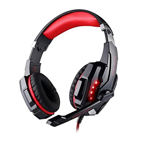 G9000Head-mounted Gaming Headset Single Hole Earphone Headband With Microphone Black & Blue 7.1 Channel