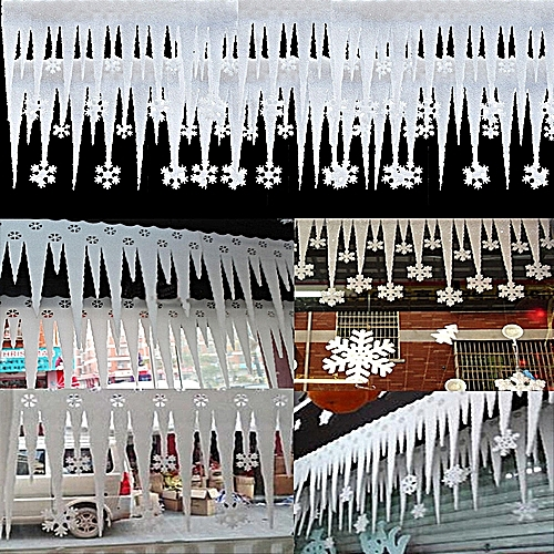 2pcs White Foam Snowflake Ice Strip Christmas Window Decoration Ornament Party