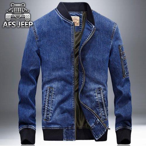 Afs Jeep Mens Fashion Casual Ladies Long Sleeve Denim Jacket(Blue)