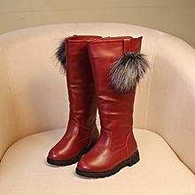 326a78aac Baby Girls Snow Fur Shoes Boots Waterproof Winter Warm Children Kids High  Boots