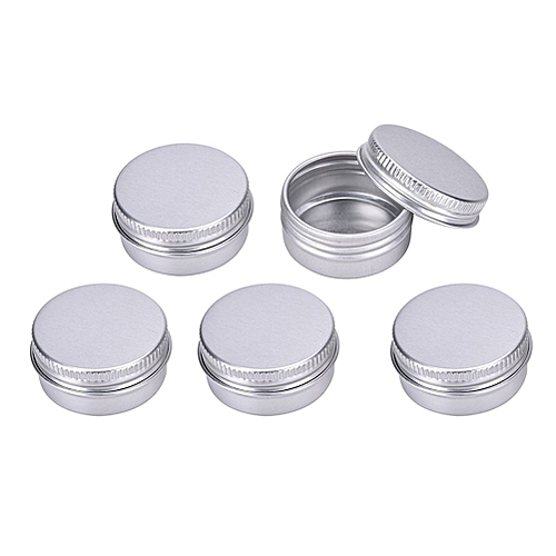 5 Pcs Aluminum Empty Lip Balm Cosmetic Travel Bottles Containers For Candy,Mints,Vitamins And DIY Face Cream Storage