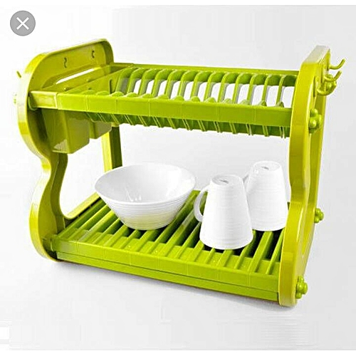 Two Tier Dish Drainer/Plate Rack- Green