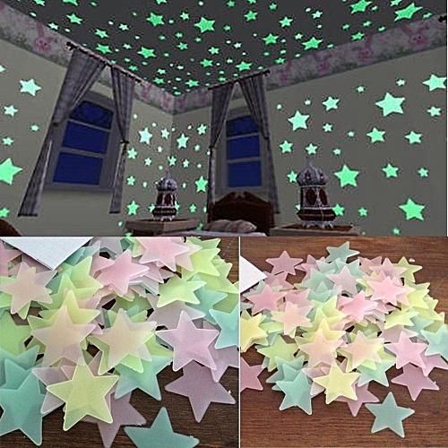 100PC Kids Bedroom Fluorescent Glow In The Dark Stars Wall Stickers-Blue