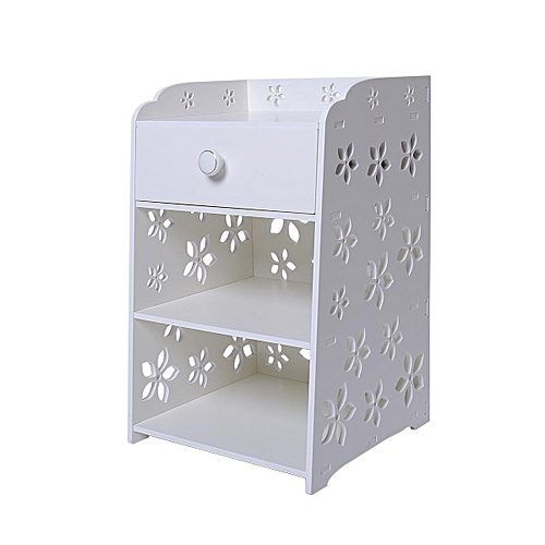 Auwes Bedroom Bedside Table Rack Cabinet Organizer Night Stand With Drawer White 40x30x50cm