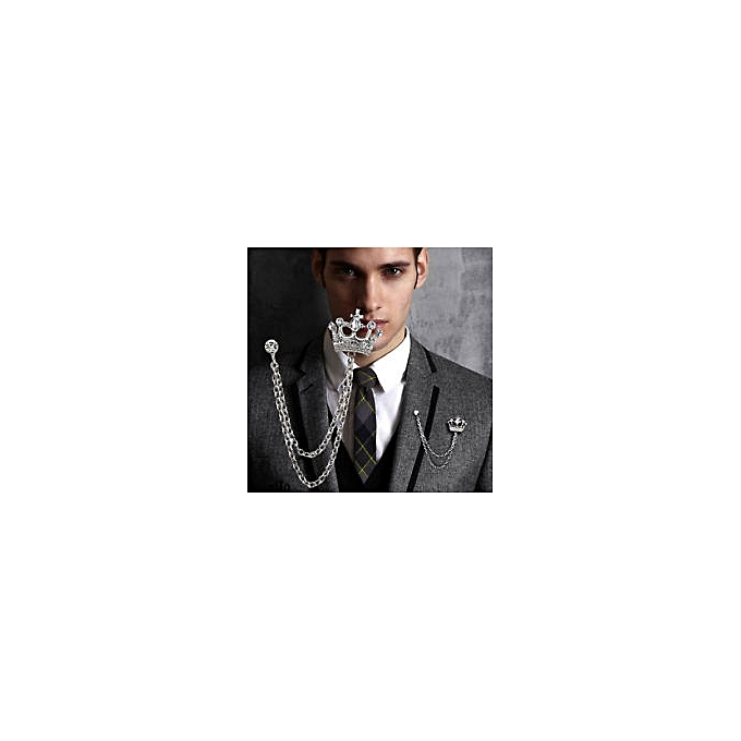 Silver Crown Chain Tassels Suit Brooch Lapel Pin With Rhinestone For Men