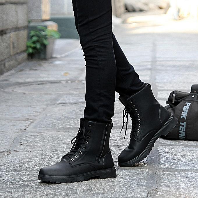 c4dc8b51bf6 Men's PU Leather Boots Lace Up Boots Mens Combat Low Heel Zipper Ankle  Bootie Black