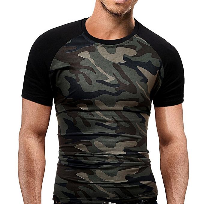 19072c7f Generic Men's Slim T-Shirt Military Camouflage O-Neck Short-Sleeved ...