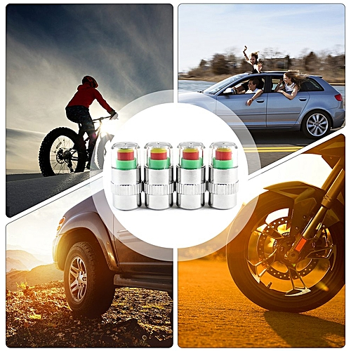 Generic 4pcs set Car Tire Pressure Monitor Valve Stem Caps Air Alert Tire Valve Cap Multicolor