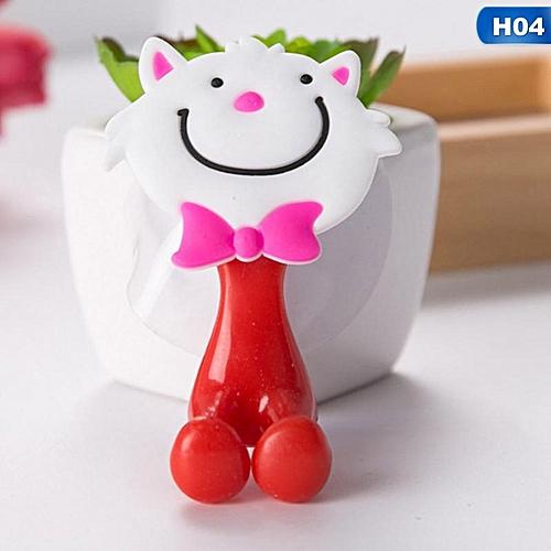 Eleganya Baby Care Cute Cartoon Animal Shape Holder Sucker Suction Hooks Set Hanging Baby Toothbrush Holder - Intl