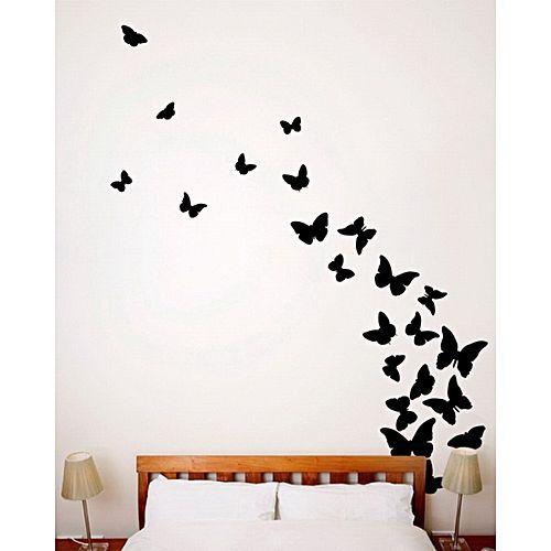Burgundy Black Butterflies 24 Pieces Wall Sticker Black Buy Online Jumia Nigeria