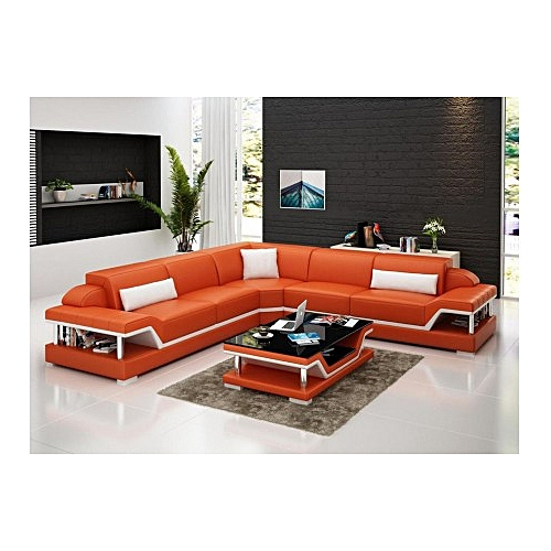 ORANGE DEN LEATHER SET WITH TABLE