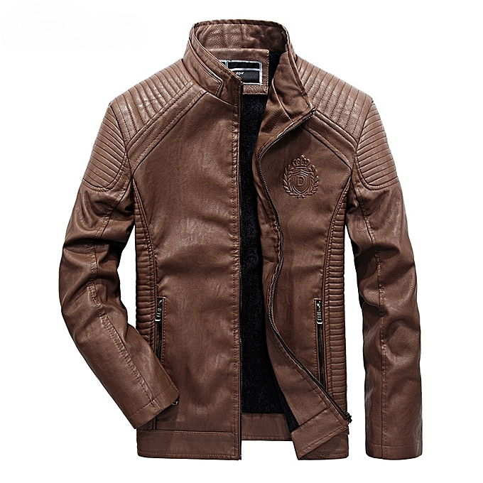 00c7cf0e9 Leather Jacket Men Casual Slim Fit Pu Biker Motorcycle Leather Jackets Brown
